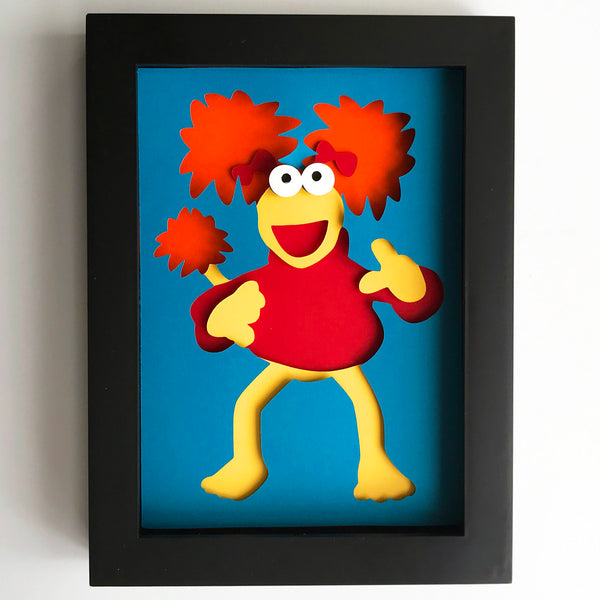 "Red Fraggle, Fraggle Rock - 5""x7"" Shaowbox PaperCut"