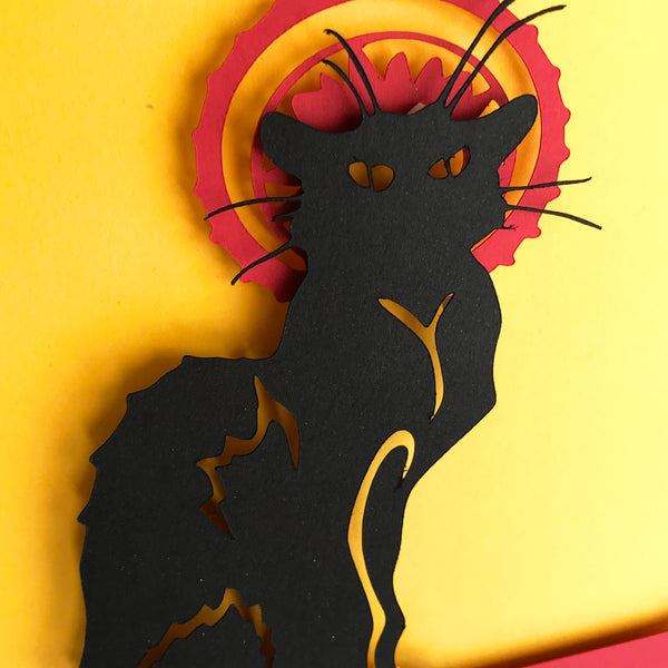 "Le Chat Noir - 5""x7"" Shaowbox PaperCut"