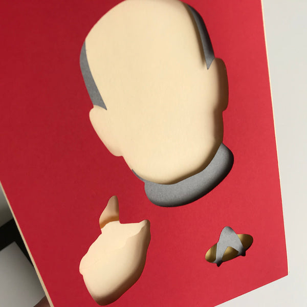 "Captain Picard - 5""x7"" Shadowbox PaperCut"