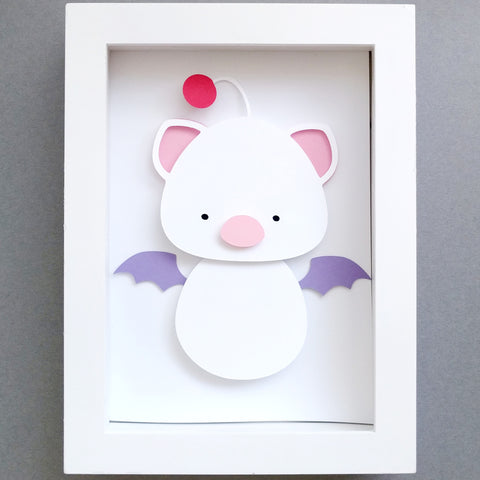 "Kokeshi Moogle, Final Fantasy - 5""x7"" Shaowbox PaperCut"