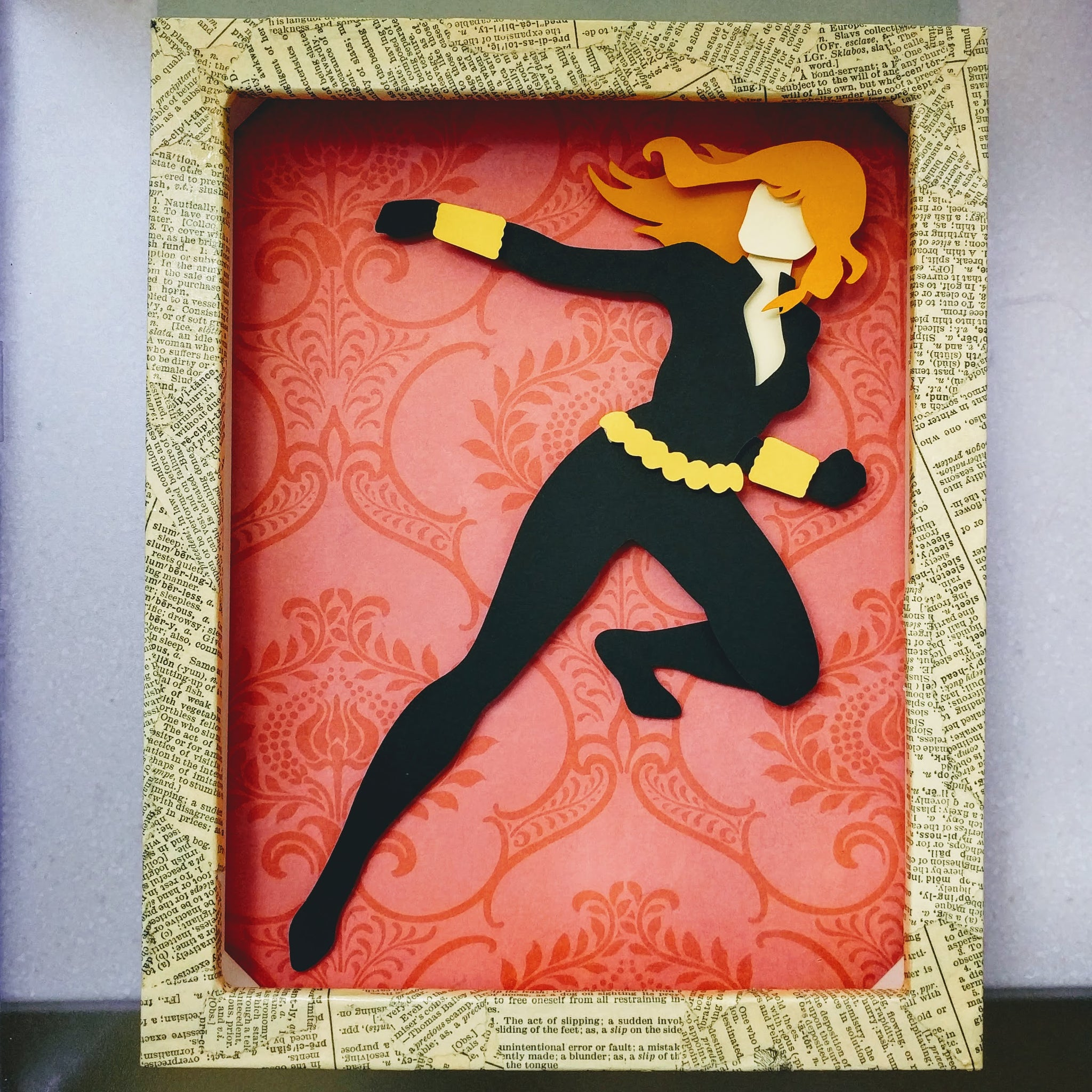 "Black Widow - 8""x10"" Shaowbox PaperCut"