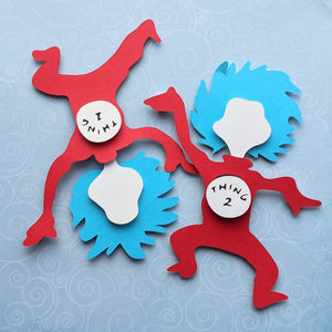 "Thing 1 Thing 2 - 8""x8"" Shaowbox PaperCut"