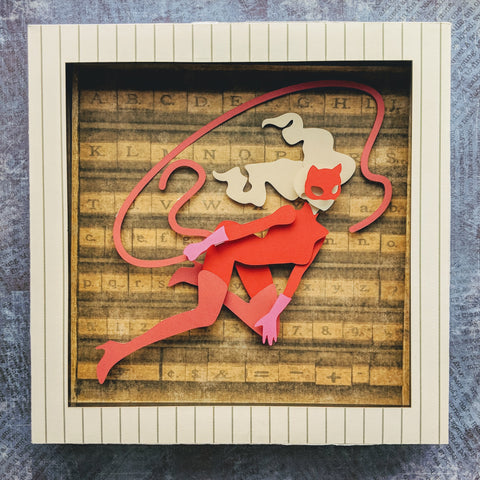 "Ann Takamaki Phantom Theif - 8""x8"" Shaowbox PaperCut"