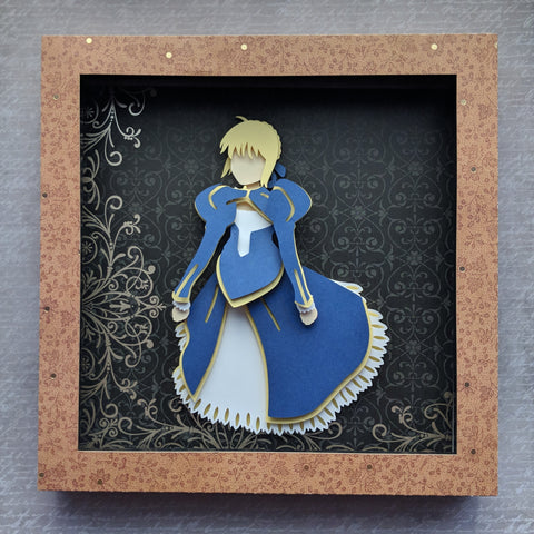 "Saber, Fate Stay Night - 8""x8"" Shaowbox PaperCut"