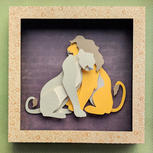 "Can You Feel The Love, Lions - 8""x8"" Shaowbox PaperCut"