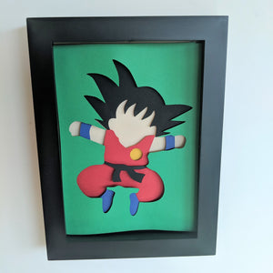 "Young Goku - 5""x7"" Shaowbox PaperCut"