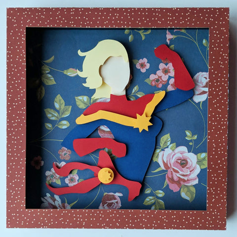 "Captain Marvel - 8""x8"" Shaowbox PaperCut"