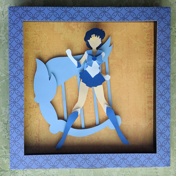 "Sailor Mercury, SailorMoon - 8""x8"" Shaowbox PaperCut"