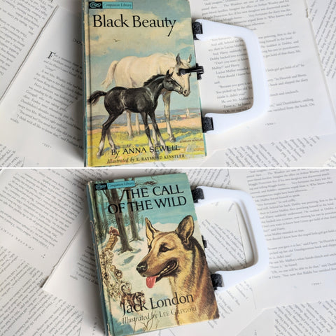Black Beauty / Call of the Wild, Library Companion Two Sided - Upcycled Recycled Tote Book Purse