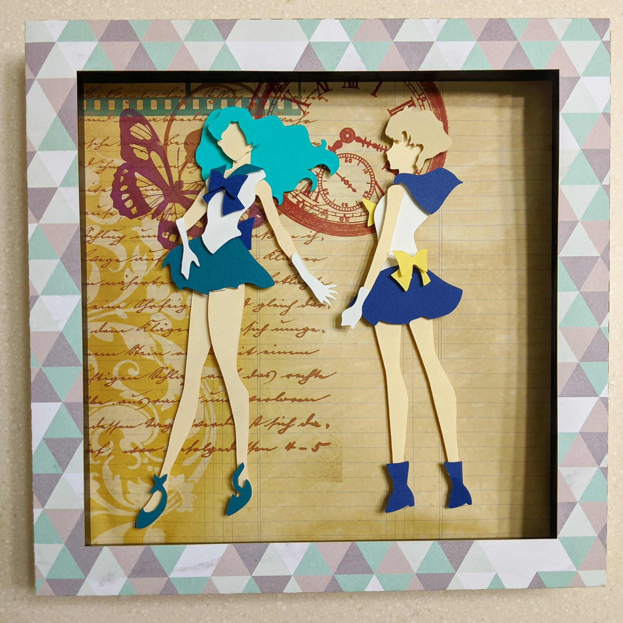 "Sailor Neptune and Sailor Uranus, SailorMoon  8""x8"" Shaowbox PaperCut"