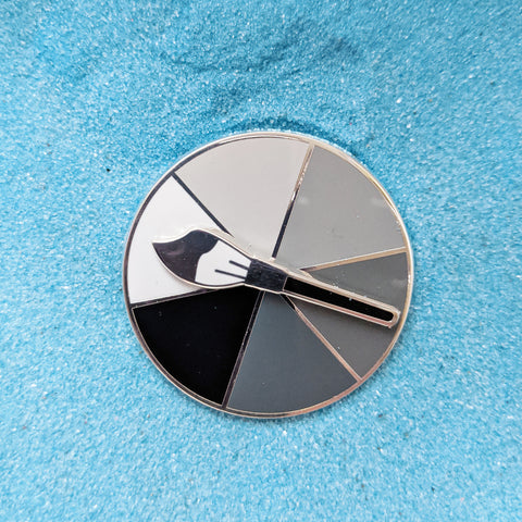 Grey Scale Paintbrush Colour Picker - Spinner Enamel Pin