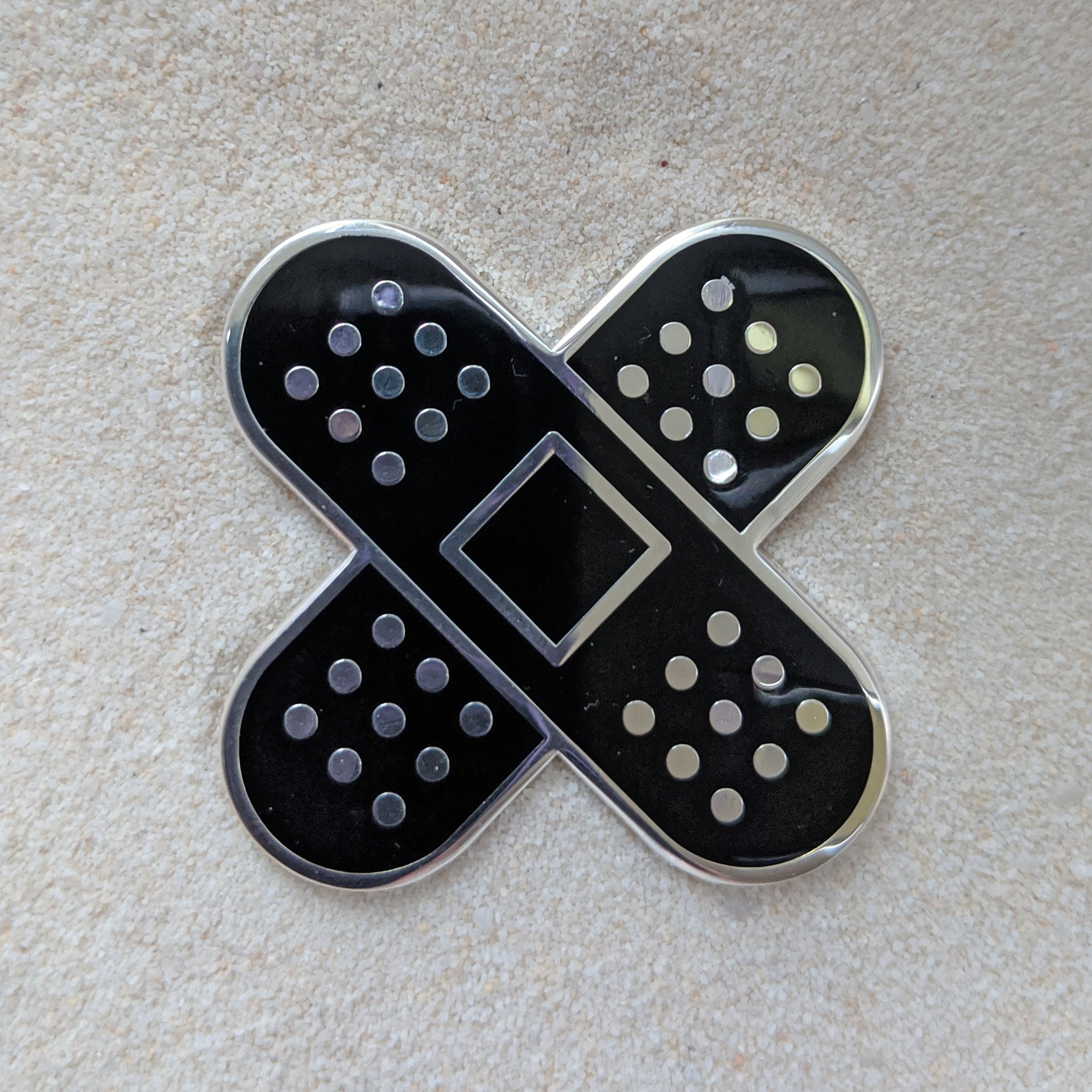 BandAid Black and Silver - Enamel Pin