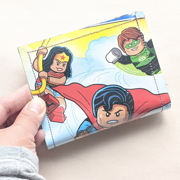 Lego Batman, Superman, Green Latern, Wonder Woman, Flash, Aquaman - Upcycled Comic Book Vinyl Wallet