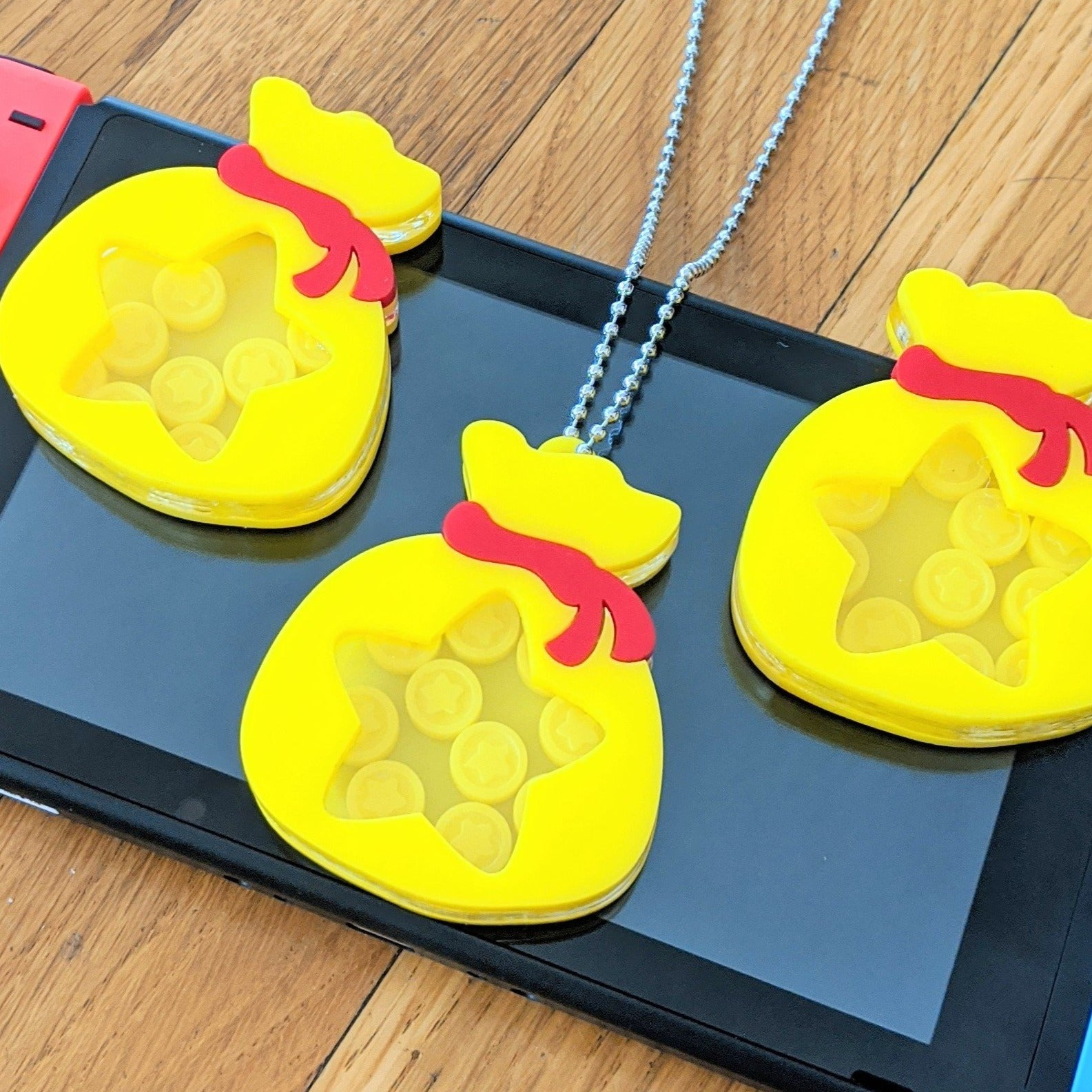 "Bells Bag, Animal Crossing Shaker Charm - 2.5"" Laser Cut Acrylic Charm Necklace or Keychain"