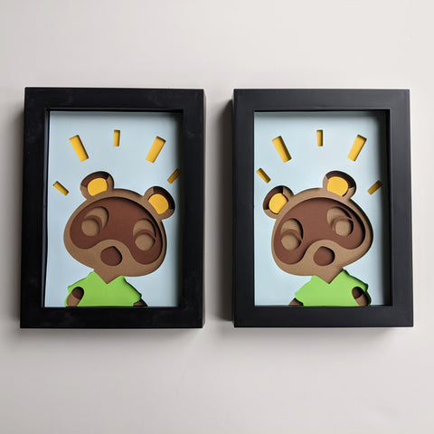 "Timmy and Tommy, Animal Crossing - 5""x7"" Shaowbox PaperCut"