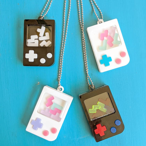 "8bit Puzzzle Gamer Shaker Charm - 2.5"" Laser Cut Acrylic Charm Necklace or Keychain"