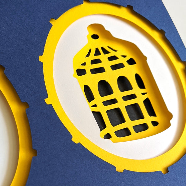 "Bird or Cage - 5""x7"" Shaowbox PaperCut"