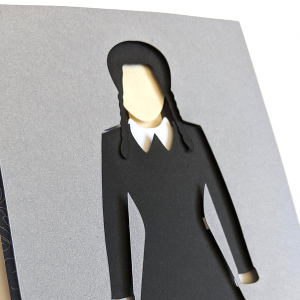 "Wednesday Addams- 5""x7"" Shaowbox PaperCut"