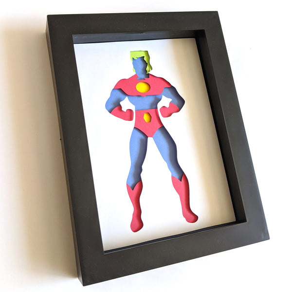 "Captain Planet- 5""x7"" Shadowbox PaperCut"
