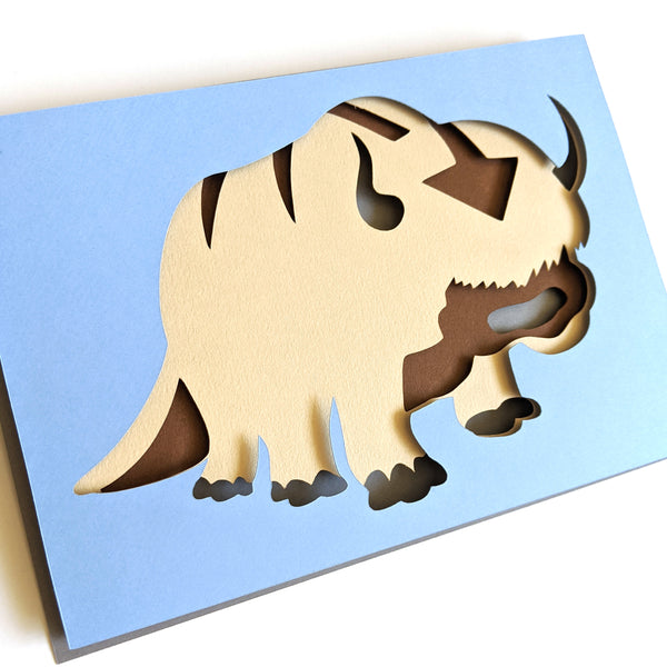 "Appa, Avatar Last Air Bender - 5""x7"" Shaowbox PaperCut"