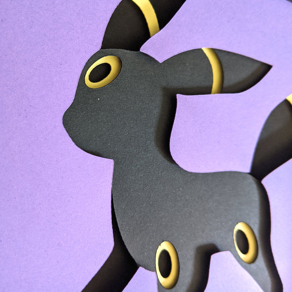 "Umbreon Pokemon Eeveelution  - 5""x7"" Shaowbox PaperCut"