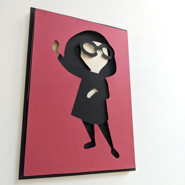 "Edna Mode - 5""x7"" Shaowbox PaperCut"