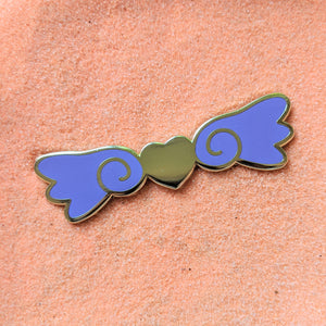 Kawaii Heart Wings Purple and Gold - Enamel Pin