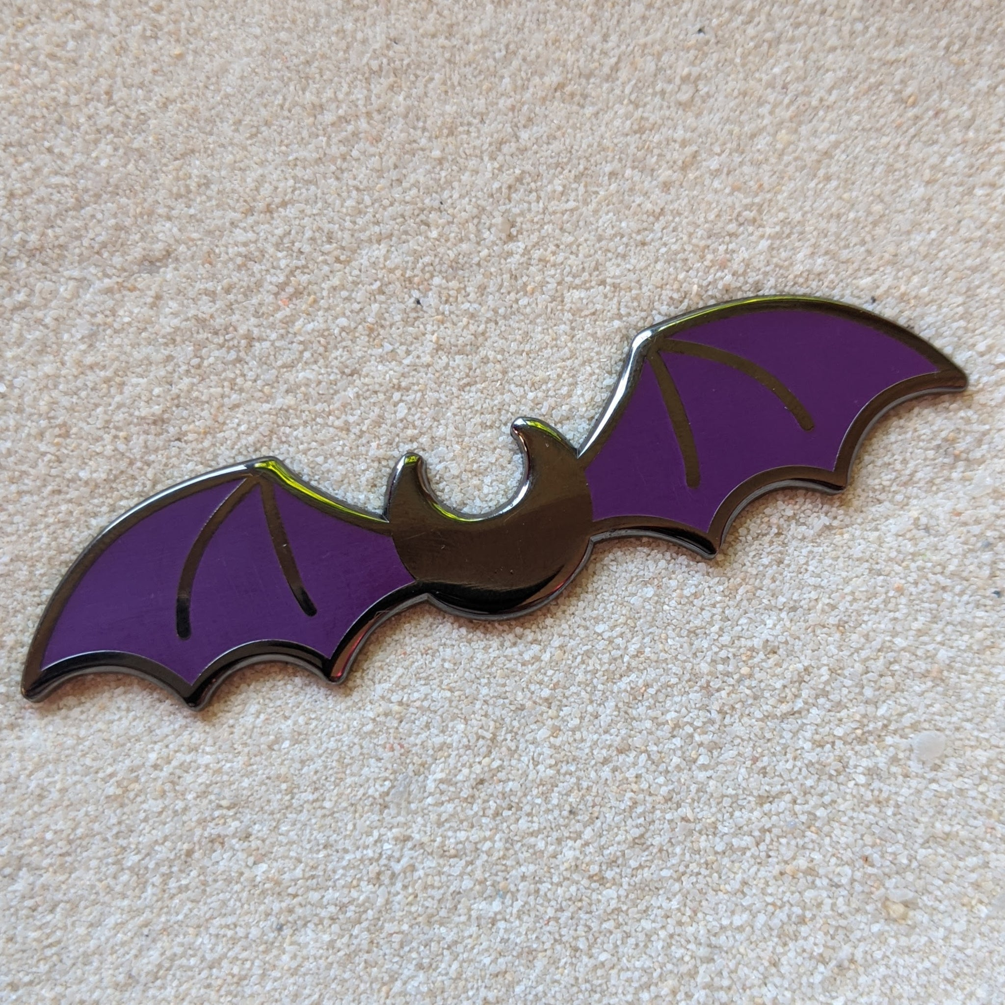 Bat Moon Wings Purple Black- Enamel Pin