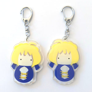 "Saber, Fate Stay Night - Kokeshi Matryoshka 2.5"" Acrylic Charm Keychain"