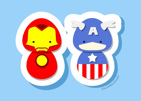 Ironman and Captain America Avengers Inspired - PostCard Print Kawaii Chibi Creative Kokeshi