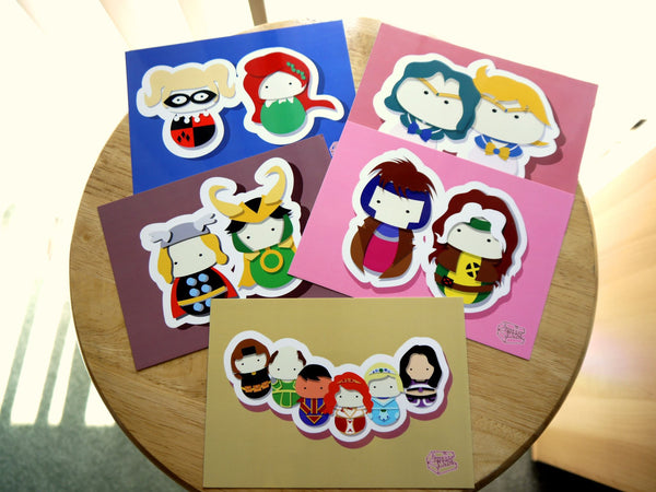 Steven, Lion, and Cookie Cat Steven Universe Inspired - PostCard Print Kawaii Chibi Creative Kokeshi