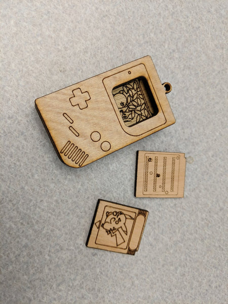 "8Bit Handheld Gaming Device with 3 Game Cartridge inserts - 2.5"" Laser Cut Recycled Wood Ball Chain Necklace Pendant"