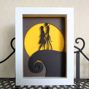 "Jack and Sally - 5""x7"" Shadowbox PaperCut"