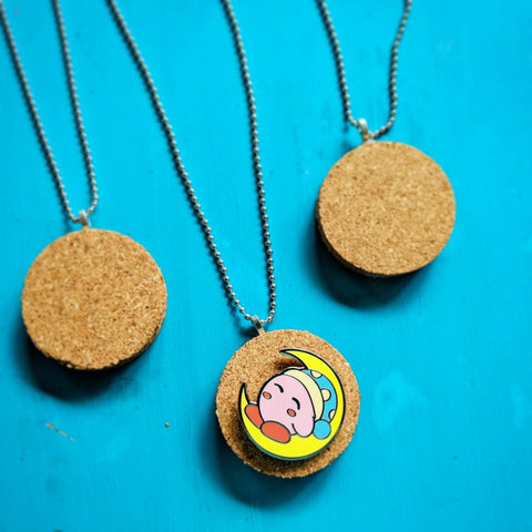 "Corkboard Necklace Pendant 2"" for displaying your Enamel Pin"