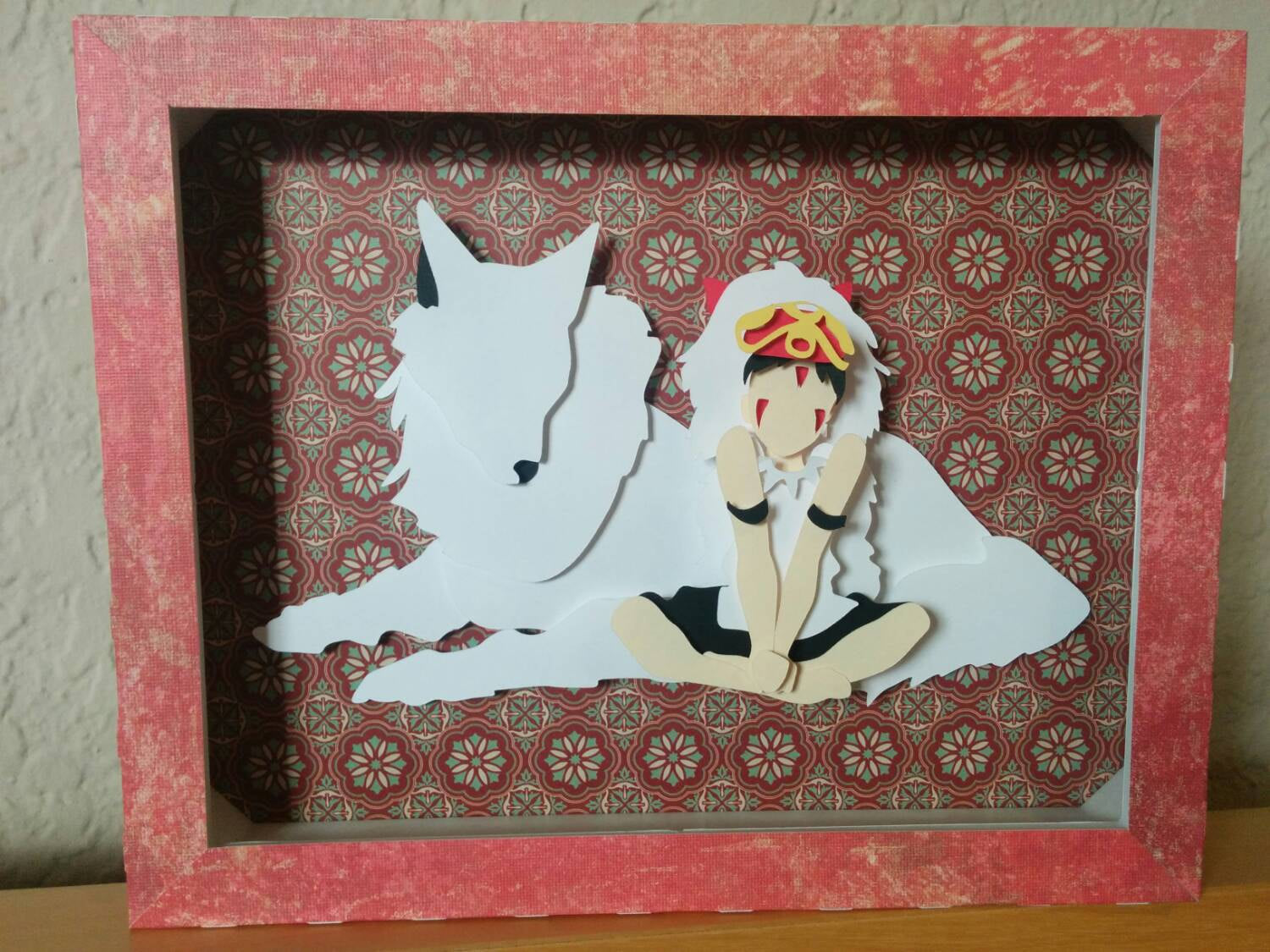 "Sans and Moro, Ghibli Princess Mmononoke - 8""x10"" Shaowbox PaperCut"
