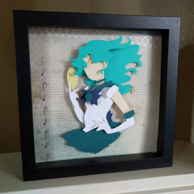 "Sailor Neptune, Sailor Moon- 8""x8"" Shadowbox PaperCut"
