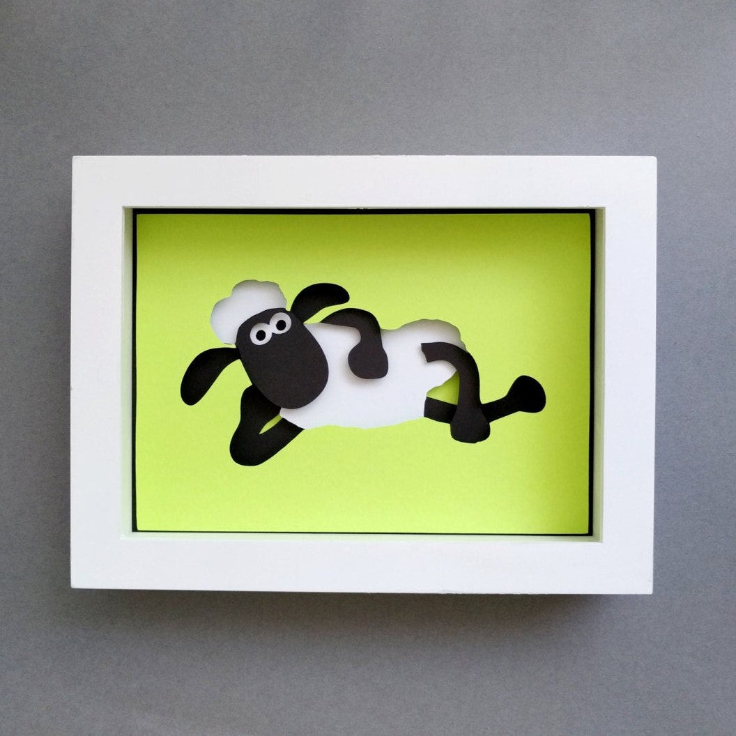 "Sheep - 5""x7"" Shadowbox PaperCut"