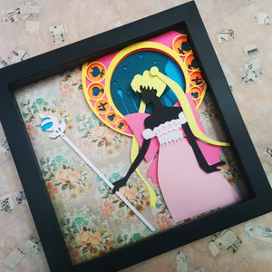"Princess Serenity, SailorMoon Crystal - 8""x8"" Shadowbox PaperCut"