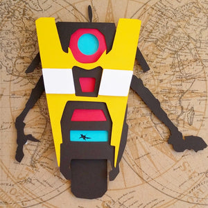 "Claptrap, Borderlands - 8""x8"" Shadowbox PaperCut"