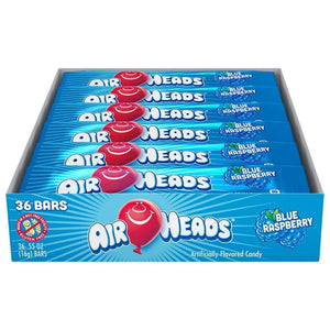 Airheads Blue Raspberry, 36 Ct. 0.55 Oz. Bars - www.inmatecarepackage.net
