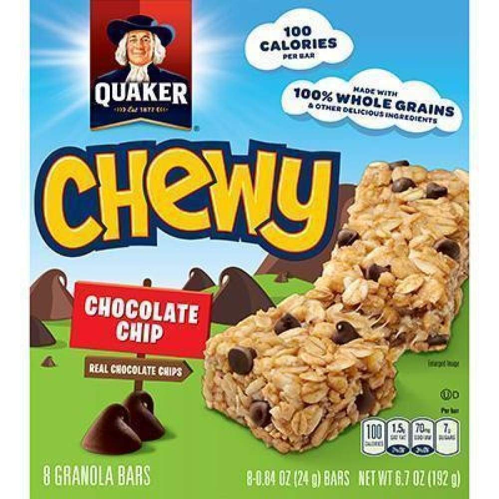 Chewy Granola Bars Choco Chip - 8 Ct. - www.inmatecarepackage.net