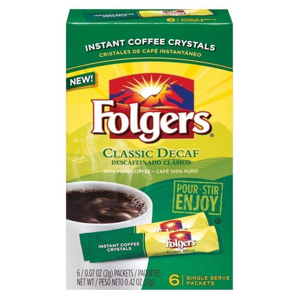 Folgers 0.42 Ounce Decaffeinated Instant 6 Packets - www.inmatecarepackage.net