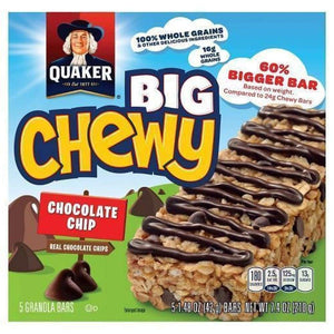 Quaker Big Chewy Granola Bars Chocolate Chip 14.8Oz - www.inmatecarepackage.net