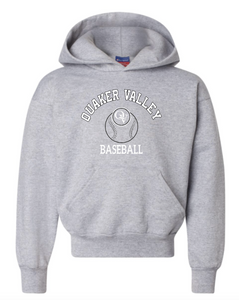 CHAMPION BRAND QVSB BASEBALL ARCHED LOGO GREY YOUTH OR ADULT HOODED SWEATSHIRT WITH PERSONALIZATION OPTION