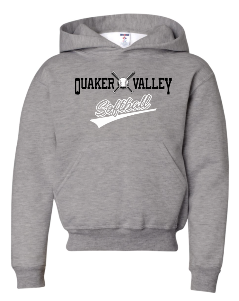 JERZEES BRAND QVSB SOFTBALL YOUTH OR ADULT HOODED SWEATSHIRT WITH PERSONALIZATION OPTION