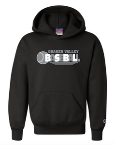 CHAMPION BRAND QVSB BASEBALL YOUTH OR ADULT HOODED SWEATSHIRT WITH PERSONALIZATION OPTION