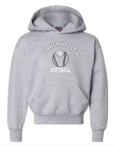 CHAMPION BRAND QVSB SOFTBALL ARCHED LOGO GREY YOUTH OR ADULT HOODED SWEATSHIRT WITH PERSONALIZATION OPTION