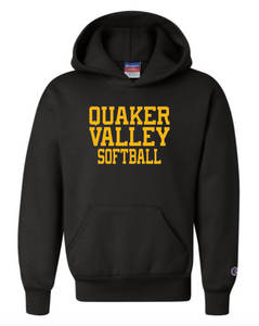 CHAMPION BRAND QVSB SOFTBALL YOUTH OR ADULT HOODED SWEATSHIRT WITH PERSONALIZATION OPTION