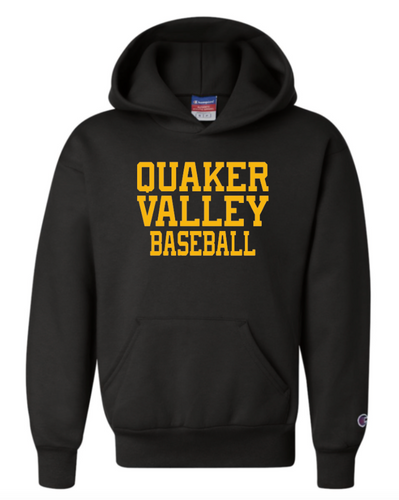 CHAMPION BRAND QVSB BASEBALL YELLOW GOLD INK YOUTH OR ADULT HOODED SWEATSHIRT WITH PERSONALIZATION OPTION