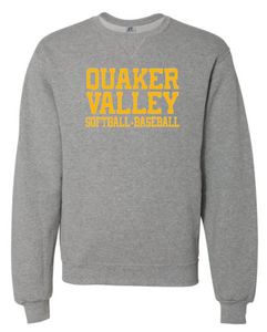 QVSB JOINT SOFTBALL-BASEBALL RUSSELL BRAND DRI-POWER YOUTH OR ADULT CREW NECK SWEATSHIRT